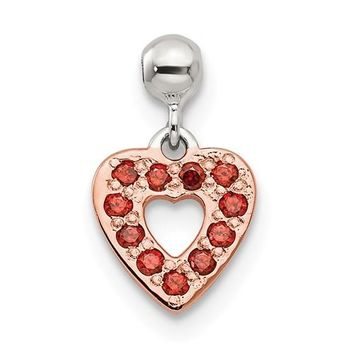 Sterling Silver Mio Memento Rose Tone With Red CZ Dangle Heart Charm