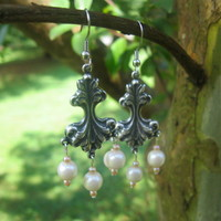 Neo - Classical Silver and White Earrings - Handmade Jewelry