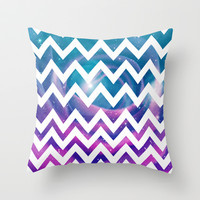 Universal Geometry - Chevron with purple and aqua galaxy Throw Pillow by Tangerine-Tane