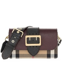 Burberry Women's Buckle Bag in House Check and Burgundy Black