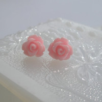 Pink Rose earrings- Pink flower earrings - Pink rose earrings -Blush pink- Pink earrings- Bridal earrings- Spring earrings