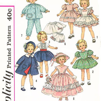 "Simplicity 3217 Sewing Pattern Shirley Temple Doll Clothes Collectible Wardrobe 12"" Baby Dolly Coat Dress Pajamas"