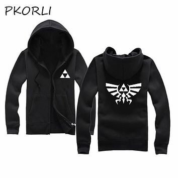 Pkorli Anime Printed The Legend Of Zelda Link Hoodies Zipper Jacket Coat Fleece Tracksuit Men Casual Hip Hop Hoody Man Hooded