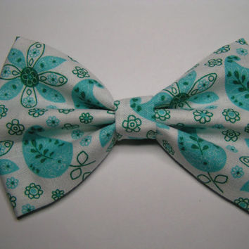 Teal floral hair bow, Big hair bow, Hair clips, Hair bows for women kids and teens
