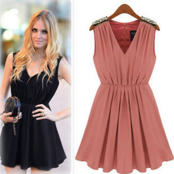 Lady Elegant Sequined V Neck sleeveless Casual Party Dress