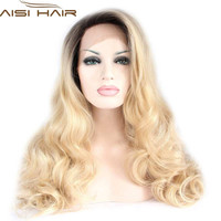 "Glueless 26"" Synthetic Lace Front Wig Ombre Blonde Wig Dark Root Long Curly Hair Wig Heat Resistant Cheap Female Wig Perucas"