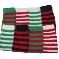 Merry Toes - Christmas Super Soft Stripe Fuzzy Toe Socks, 6 Pair, Size 9-11