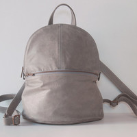 Grey Leather Backpack, Leather Laptop Backpack, Leather Backpack, School Backpack, Travel Backpack, Everyday Backpack, NEW LARGER SIZE