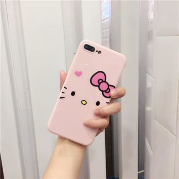Rlenda Cartoon Hello Kitty Cat Cute Dots Pattern Pink Candy Soft Phone case for iphone 8 8plus 7 7plus 6 6S 6Plus 6Splus X