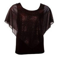 eVogues Apparel- -Plus Size Layered Poncho Top with Glitter Detail Brown-Clothing-Women's Plus-Tops