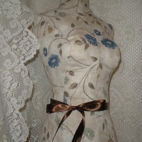 Boutique Dress form designs with stand. Life size torso great for store front or home decor. French Meadows Print.