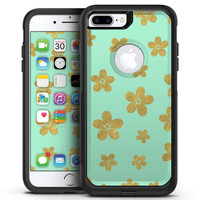 Mint and Gold Floral v7 - iPhone 7 or 7 Plus Commuter Case Skin Kit