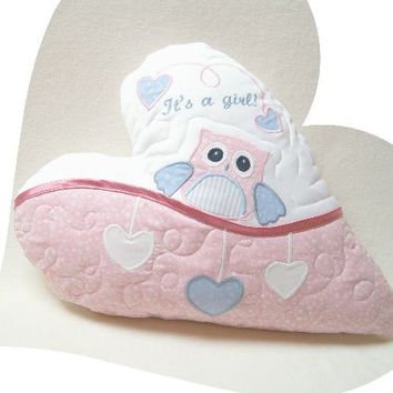 "It""s a  girl!  Personalized Baby Pillow,  New Baby Gift,  Birth Announcement,  Baby Shower Gift Idea,"