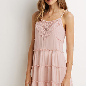 Tiered Crochet-Trim Dress