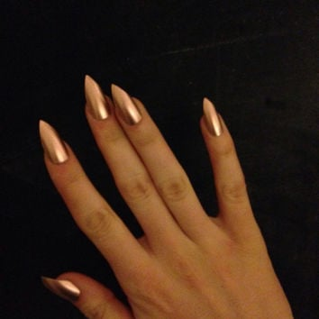 Gold press-on nails, fake nails, false nails, faux nails, acrylic nails, hand-painted nail set, rose gold