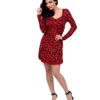 Red & Black Leopard Print Long Sleeve Fit & Flare Sweater Dress