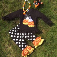 Candy Corn Outfit, Girls Halloween Outfit, Girls Personalized Halloween Outfit, Polka Dot, Ruffle Pants, Personalized, Halloween Girls