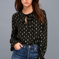 Good as Gilt Gold and Black Print Long Sleeve Top