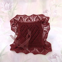 Elegant Lace Ring Bearer Pillow, Hand-knitted Brownish Red Pillow, Heart Pattern, Wedding Accessory