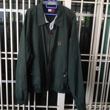 Vintage 90s Tommy Hilfiger harrington / bomber olive green full zipper jacket Large size