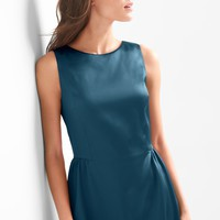 Structured satin fit and flare dress | Gap