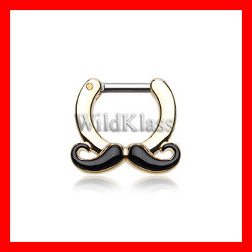 Gold Septum Clicker 16g Golden Classic Mustache 14g Septum Ring Earring Cartilage Piercing Tragus Ring Helix Conch Nose Belly Nipple