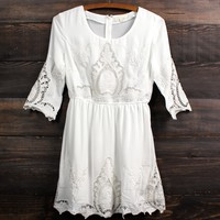 vintage inspired battenburg lace mini dress - white