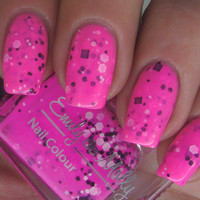 """Nail polish - """"Flurocious"""" black and white glitter in a hot pink base - new 12ml bottle"""