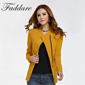 Zipper Blazer Suit Polyester Formal Outwear Fashion Women Long Sleeve Slim Fit Lapel Jacket Tops Coat