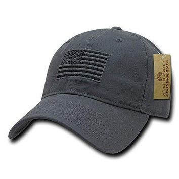 RapDom Polo Style American Pride Flag Baseball Caps Tonal Flag Dark Grey
