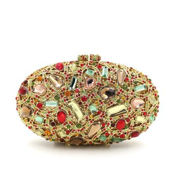 Cheap Golden Oval Rhinestone Ciolorful Box Clutch
