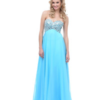2014 Prom Dresses - Light Blue Rhinestone & Sequin Sweetheart Chiffon Long Dress