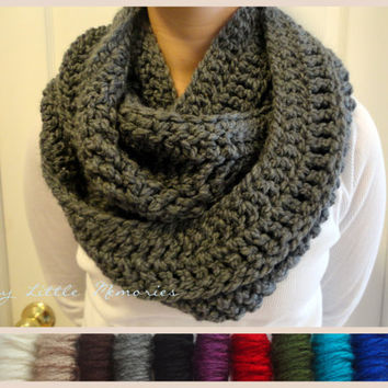 Charcoal Gray Infinity Scarf Crocheted by TinyLittleMemories