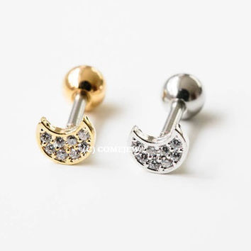Cute cz moon earring,Upper Ear Piercing,Single earring,tragus piercing,cartilage,upper ear piercing,tragus jewelry,bridesmaid,GJA001