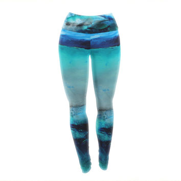 "Josh Serafin ""Dolphin"" Blue Teal Yoga Leggings"