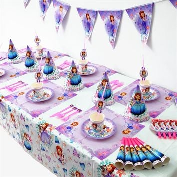 Disney Sophia the first Kids Birthday Party Decoration princess Sophia theme Party Supplies Baby Birthday Party Pack