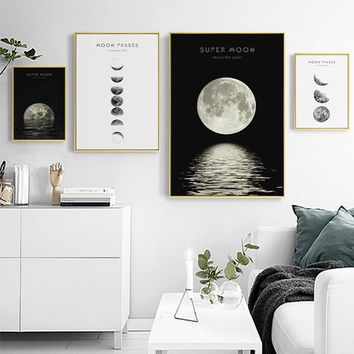 Black and White Canvas Painting Photography Nordic Wall Art Picture Moon Phases La Lune Print and Poster Scandinavian Home Decor