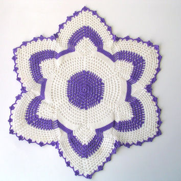Violet and White Crochet Cloth - Handmade Doily Vintage