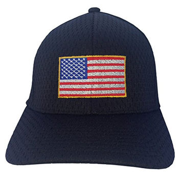 USA Flag Embroidery on a Flexfit Athletic Mesh - Structured Hat, One Size (One Size, Black)