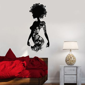 Wall Decal Beauty Salon Spa Woman Tattoo Flowers Curls Vinyl Stickers Unique Gift (ig2924)