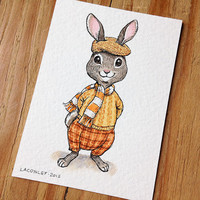 ACEO Original Art, Pen and Ink Drawing with Watercolor, Dapper Bunny in Clothes, Whimsical Animal Illustration by Laurie A. Conley