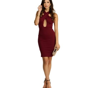Burgundy Simply Jane Criss-Cross Dress
