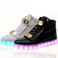 Lights Up Led Luminous Casual Shoes High Glowing with Charge Simulation Sole for women & men adults neon basket