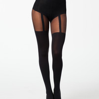 SUSPENDER SHAPER - black tights