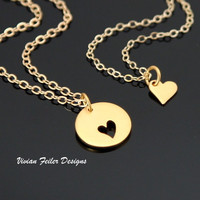 Mother Daughter Jewelry Gold Two Hearts Mother's Day Gift - Vivian Feiler Designs | Wedding Jewelry