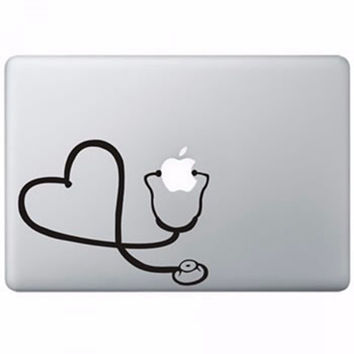 Newest ! 1Pcs Waterproof Laptop Sticker Stethoscope Heart Pattern PVC Sticker Decal for MacBook Air 11'13' for Pro Retina 13'15'