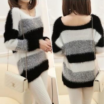 pullover Winter Soft Mohair Striped  Sweaters