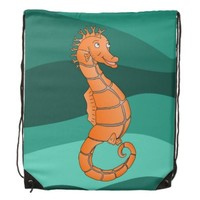Smiling cartoon seahorse in green ocean