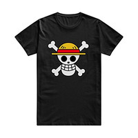Drong Men's One Piece Luffy's Jolly Roger Straw Hat Crew Tee