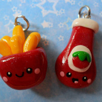 Kawaii Ketchup and French Fries Best Friends Charms